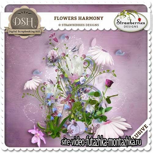 Прекрасный цветочный скрап-комплект - Гармония цветов