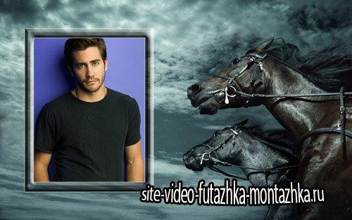 Фоторамка - 2 темных коня