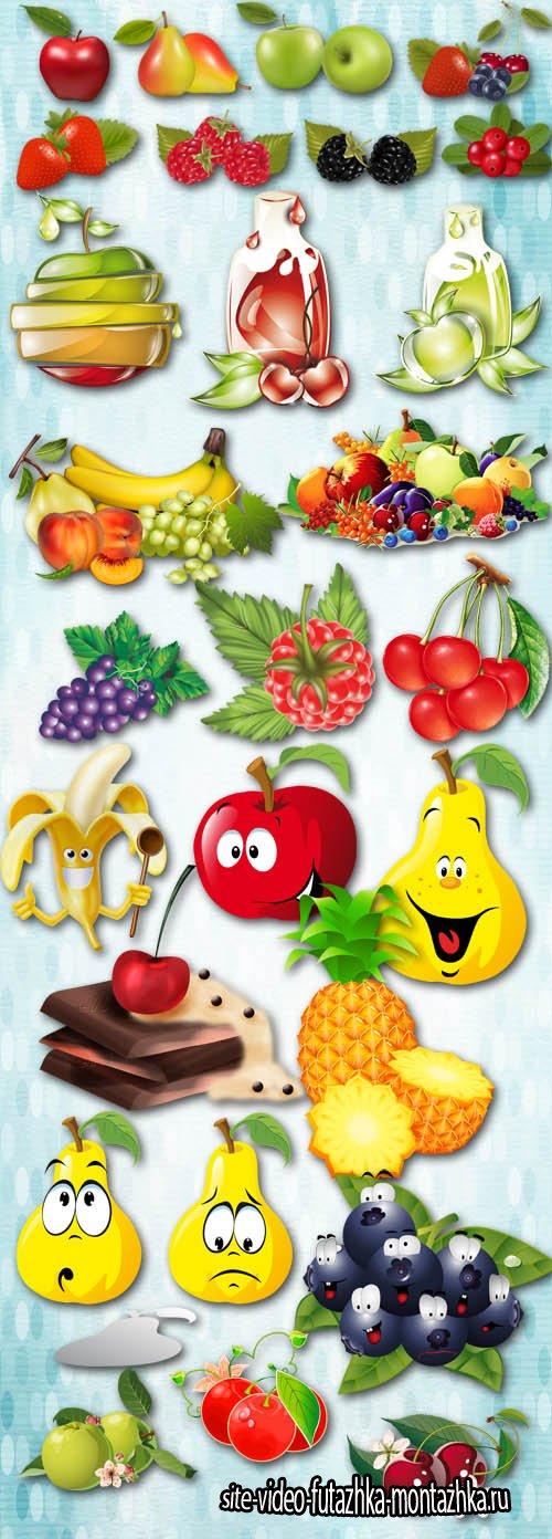 Vitamin Set - Berries and Fruits PNG Files