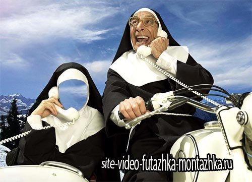 Шаблон для фотошопа - Монашка на мотоцикле с телефоном