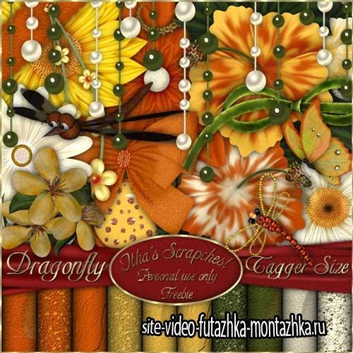 Цветочный скрап-комплект - Стрекоза