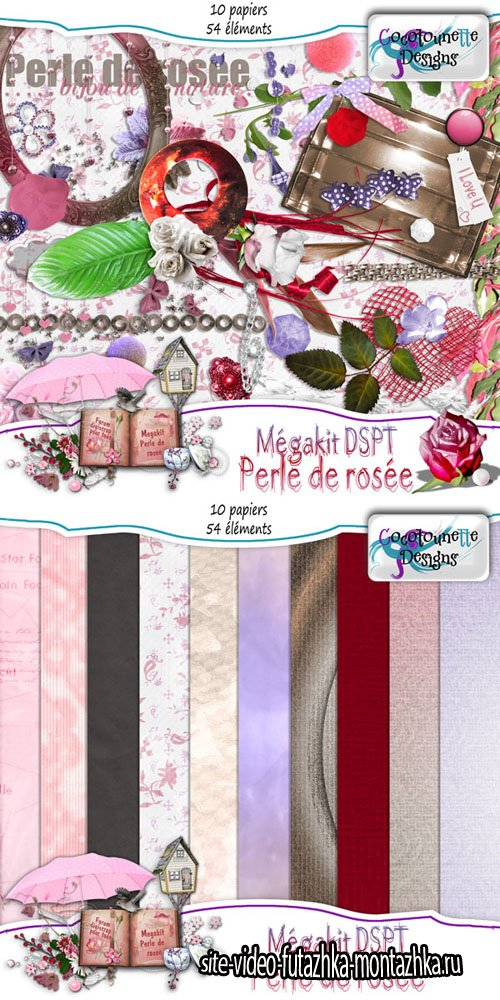 Scrap - Perle de Rosee Kit PNG and JPG Files