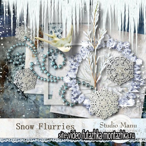 Scrap - Snow Flurries Kit PNG and JPG Files