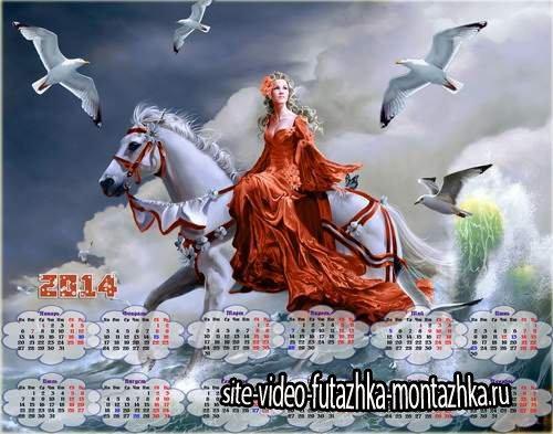 Календарь с девушкой в красном платье на белой лошади у моря с чайками