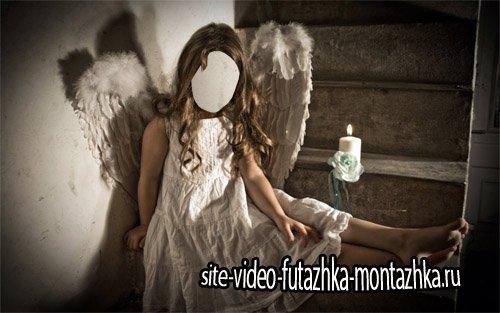 Шаблон для фото - Девочка в костюме ангела