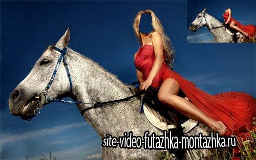 Шаблон женский - На коне в маковом поле
