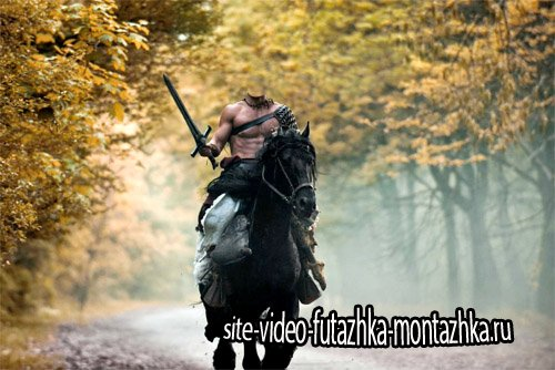 Шаблон psd мужской - Бесстрашный воин на лошади
