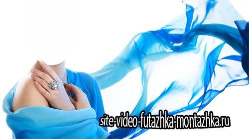 PSD шаблон для девушек - В красивом голубом платье