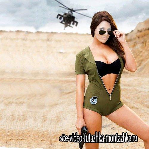 Шаблон psd - Боевая девушка с оружием