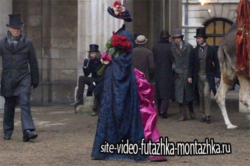 Женский шаблон - Барышня с розами и в платье 19 века