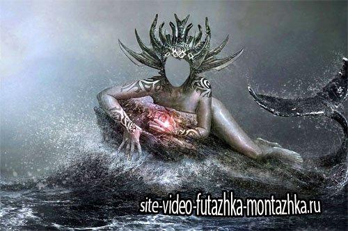 Шаблон для Photoshop - Королева океана на ките