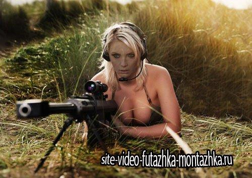 Шаблон psd - Снайпер с винтовкой в засаде