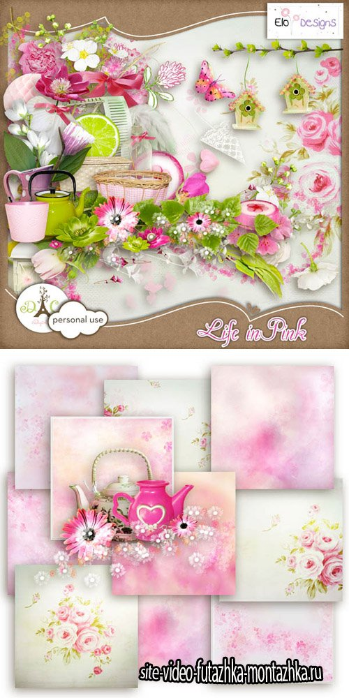 Scrap - Life in Pink PNG and JPG Files