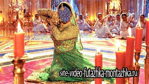 Шаблон для фото - Танцовщица в красивом индийском наряде
