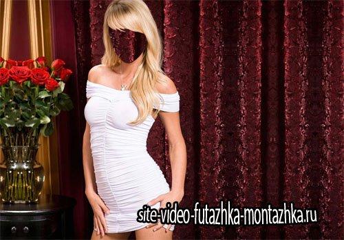 Шаблон psd - Шикарная девушка в красивом платье