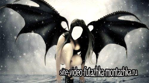 Черный ангел на крыльях ночи - шаблон psd женский