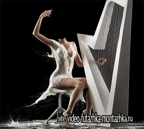 Шаблон для Photoshop - Игра на арфе в необыкновенном платье из молока