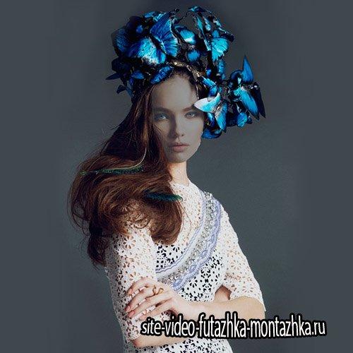 Шаблон для девушек - Головной убор из синих бабочек