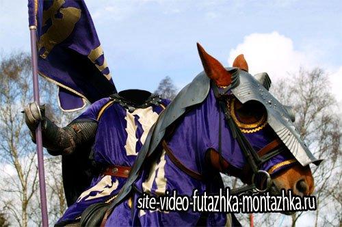 Шаблон для Photoshop - Рыцарь с флагом на лошади