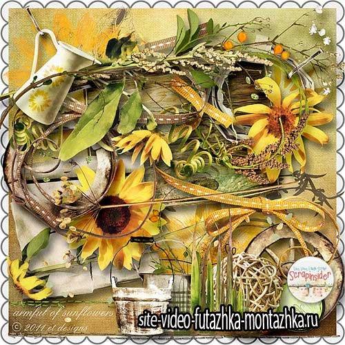Цветочный скрап-комплект - Охапка подсолнухов
