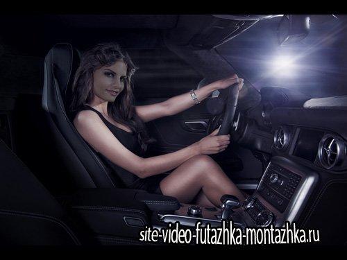 Шаблон psd женский - Брюнетка в элитном автомобиле