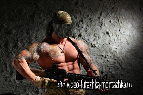 PSD шаблон для мужчин - Сильный боец с пулеметом