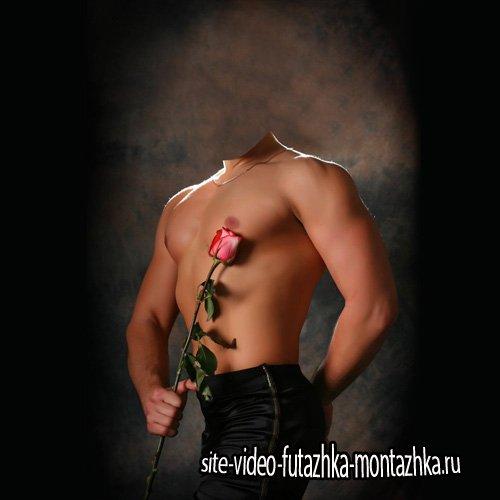 Шаблон для фотошопа - Накаченный парень и с розой в руке