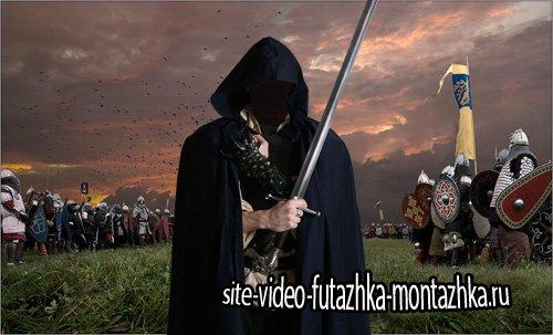 Шаблон psd мужской - Таинственный рыцарь с оружием