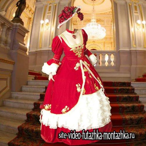 Шаблон psd - В шляпе из роз и платье