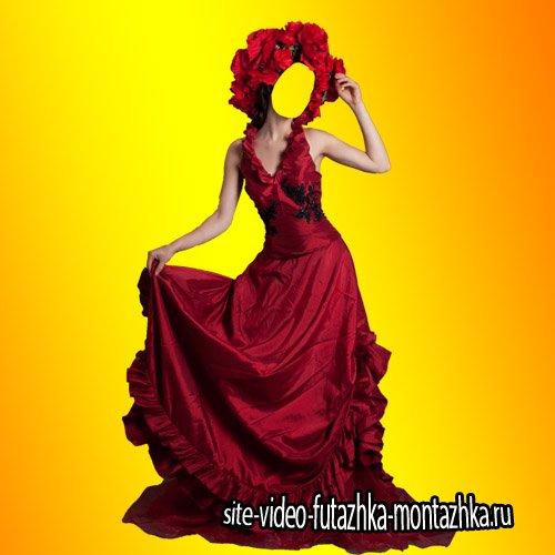 Шаблон для фотошопа - Красное платье для девушек