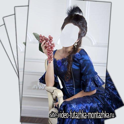 Шаблон psd - Дама на кресле в синем платье