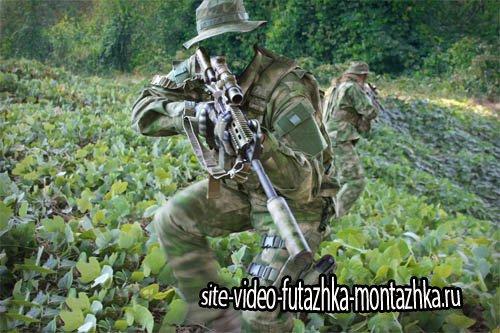 Спецназ с оружием - PSD шаблон для мужчин