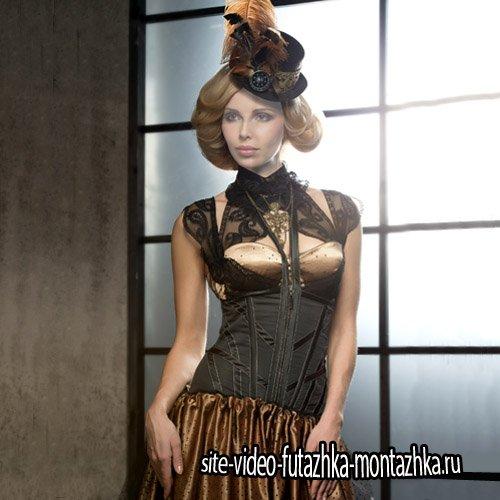 Шаблон для фотомонтажа - Девушка в красивом платье и шляпке