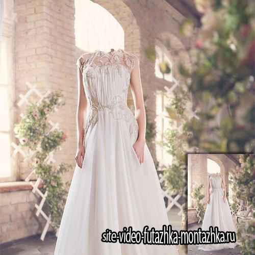 Фотосет в белом платье - Шаблон для фотошопа