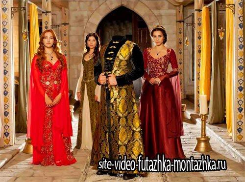 Богатый султан во дворце - Шаблон для фотомонтажа