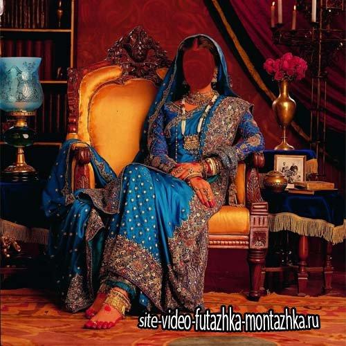 Девушка в красивом наряде Индии - Шаблон psd