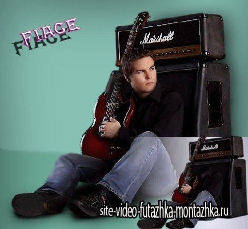 Фотокостюм psd - Электрогитарист со своей гитарой