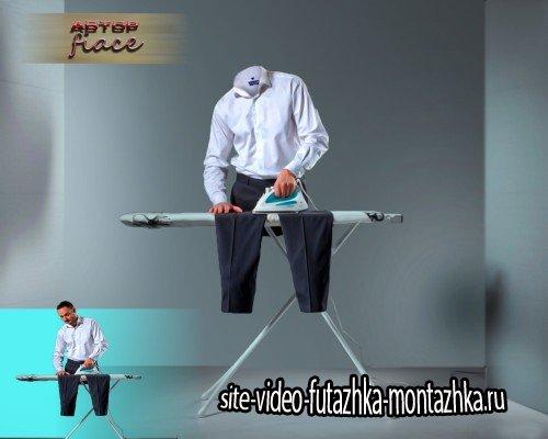 Прикольный шаблон psd - Необычная глажка брюк