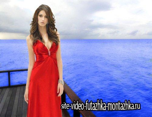Шаблон psd - В красном вечернем платье