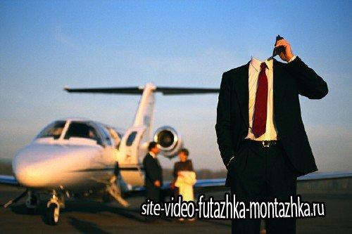 Шаблон psd - Бизнесмен в костюме с телефоном