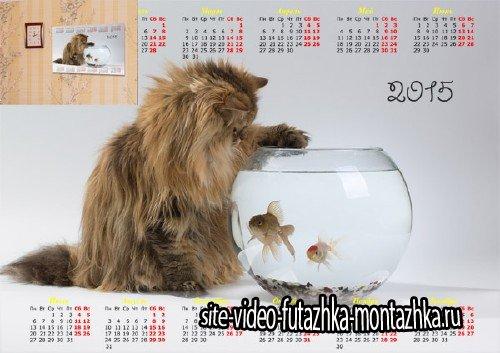 Календарь настенный - Кошка и рыбки