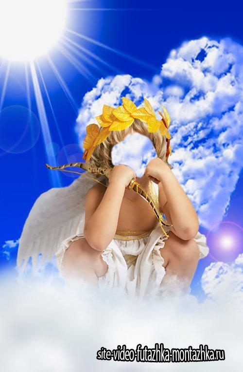 Шаблон для фотошопа  - Купидончик в облаках