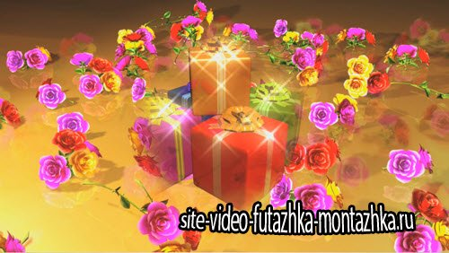 футаж - видео заставка Цветы с подарками