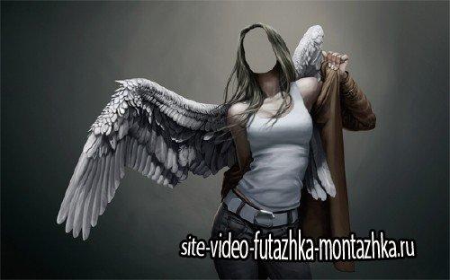 Красивый ангел с крыльями - Шаблон для фотомонтажа