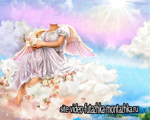 Шаблон для девушек - Ангел на небе с цветочками