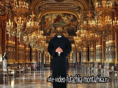 Шаблон psd мужской - Священник в рясе