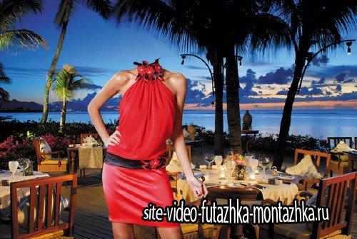 Шаблон для фотошопа - Морской вечер - в красном платье