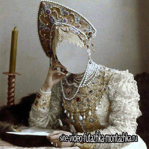 Шаблон psd женский - Русская княгиня в наряде