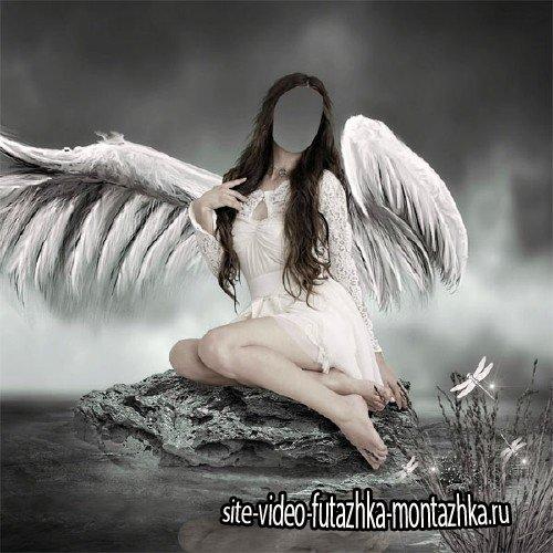 Женский фото шаблон - Ангел возле воды