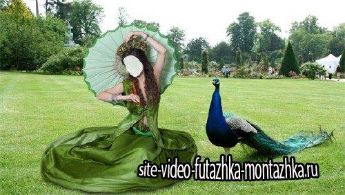 Женский фото шаблон - На отдыхе в зеленом платье и зонтом
